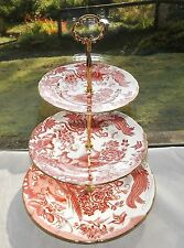 Royal Crown Derby Red Aves Three Tier Cake Stand Birds and Flowers
