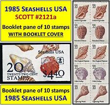 1985 SEASHELLS USA stamp issue SCOTT #2121a BOOKLET PANE of TEN 22-cents STAMPS.