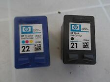 2 HP 21 C5391A black and HP 22 C5392A color ink empty cartridges