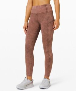 """Lululemon Women's Fast Free HR Tight 25"""" *Ice Wash Brown Earth* LW5CTRS ICWH"""