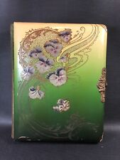 Antique Embossed Celluloid Photo Album Art Deco Violets Green Yellow Gold 2F