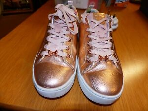 Ted Baker Kellei Rose Gold Leather Trainers Size UK 8