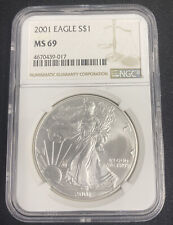 2001 Silver American Eagle Dollar $ / NGC MS69 / Mint State 69