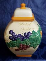Handmade Nonni's Biscotti Ceramic Jar Sealable Lid Cannister Cookie Tuscan Grape