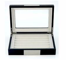 Hand Made Black Glass Luxury Case Cufflinks Ring Tie clip Storage Display Box E