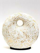 "Lamp White Mosaic Glass Bali 14"" Round Shape Hand Made Unique by ZENDA IMPORTS"