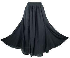 Black Women Cotton BOHO Gypsy Long Maxi Godet Flare Skirt 1X 2X 18 20