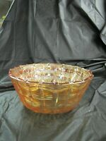 Vintage Marigold Carnival Glass Bowl, Basket Weave Pattern