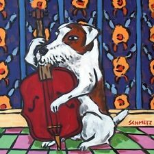 jack russell terrier dog playing stand up bass dog art tile coaster gifts gift