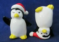 Penguins in Santa Hats One Standing on Head Vintage Made in Japan Figurines GUC