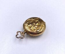 Elegant Small English Floral 10/0s Solid 18K Yellow Gold Pocket Watch Case 9.15g