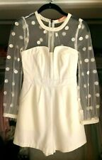 NWT REFORMATION IVORY POLKA DOT EMBROIDERED LONG-SLEEVE MESH ROMPER DRESS XS 0 2
