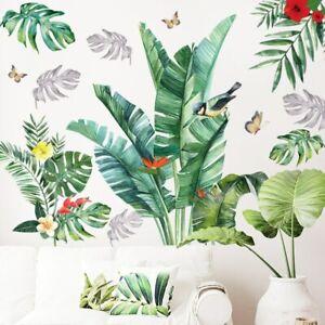 Wandtattoo Wandaufkleber tropische grüne Blätter Vögel Blumen Schmetterlinge