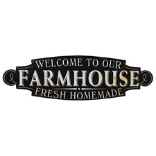 Lg Vintage Chic Welcome to our Farmhouse Rustic Sign-Wall Blk Kitchen Home Decor