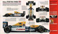 WILLIAMS FW14/14B F1 Formula 1 SPEC SHEET/Brochure: 1991,1992