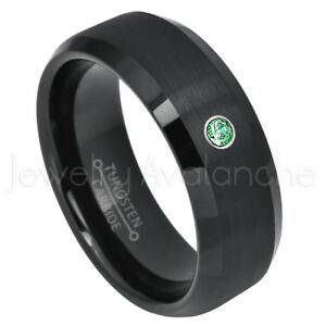 Semi-Dome Black Tungsten Ring, 0.07ct Emerald Ring, May Birthstone Ring #697