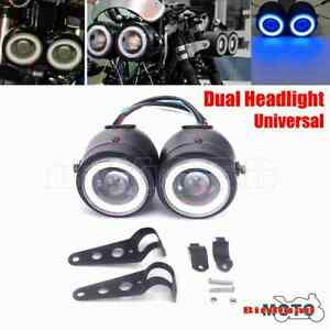 Motorcycle Twin Headlight LED Headlamp Double Front Lamps For Harley Cafe Racer