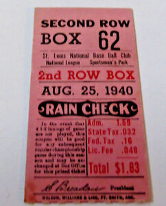 VINTAGE AUG.25, 1940 SAINT LOUIS CARDINALS TICKET STUB~ SPORTMAN'S PARK~baseball