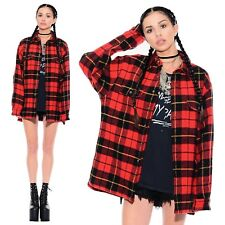 Vintage 90s GAP Grunge Wool Plaid Unisex Oversized Work Jacket Boyfriend Shirt M