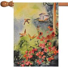 Toland Breakfast Birds 28 x 40 Spring Summer Poppy Flower House Flag