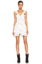 NWT $605 ISABEL MARANT SZ 44/12  CASEY White Cotton Silk Ruffle Tier Mini Dress