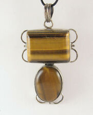 Tiger Eye Pendant Necklace 925 Sterling Silver Mens Jewelry Yellow Tigereye Cord