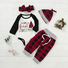 My 1st Christmas Baby Boy Girl Newborn Xmas Clothes Romper+Plaid Pants Outfits