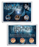 Harry Potter DEATHLY HALLOWS Great Britain Half Pennies 3-Coin Set w/4x6 Display