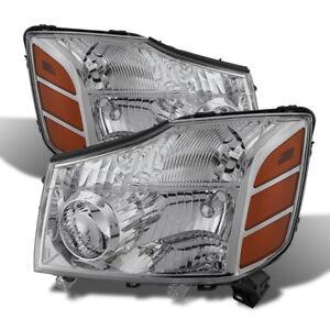 Fit Nissan 04-15 Titan / 04-07 Armada Chrome Housing Replacement Headlights