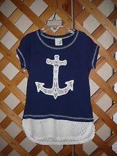 LILY BLEU KNIT TOP~Navy & White~Anchor~Raglan Cap Sleeve~Girls Size Small 7-8