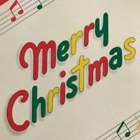 Vintage Mid Century Christmas Greeting Card Spell Out Music Notes Hallmark