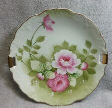 Lefton Heritage Green Rose True Vintage Hand Painted Handled Cake Plate #719