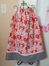 Pillowcase Dress Handmade w/KEWPIE Doll/Puppie inside Heart Fabric, size 5-6 NEW
