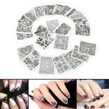 24 sheets full water transfer nail art decoration stickers decals black lace HU