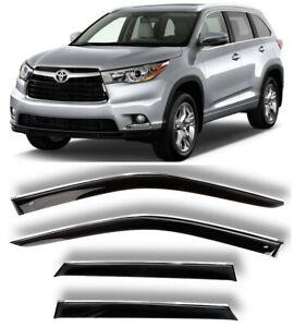Chrome Trim Side Window Visors Guard Vent Deflectors For Toyota Highlander 14-19