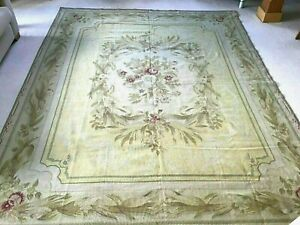 TAPESTRY RUG / WALL HANGING WOOL GREEN YELLOW PINK 10FT x 8FT / 305 x 244 CMS