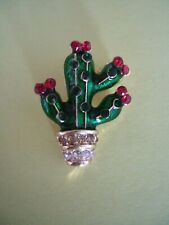 Small Green Cactus Brooch  Metal Enamel Rhinestones
