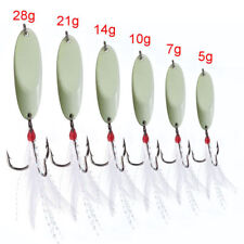 Luminous Spoon Fishing Lures Metal Spinners With Feather Treble Hooks Bass Baits