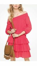 Micheal Kors Womens Sangria Tiered Off the Shoulder Smoked Dress Size M NWT