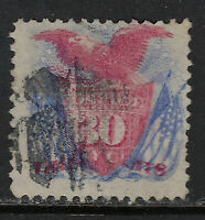 SCOTT 121 1869 30 CENT SHIELD EAGLE AND FLAGS REGULAR ISSUE USED F-VF CAT $260!