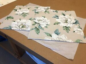 TWO LAURA ASHLEY HANDMADE REVERESIBLE CUSHION COVERS IN WISLEY LINEN