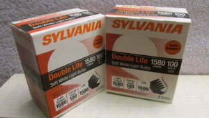 Sylvania 100 Watt Incandescent Light Bulbs ~ TWO 2-Packs Soft White Double Life