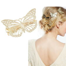 Epingle à Cheveux Pince Barrette Papillon Doré Femme Fantaisie Bijou 4.9x3.5cm