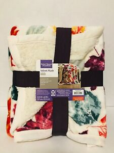 "Sherpa Throw Blanket, 50"" x 60"", Maroon Leaves - Better Homes & Gardens"