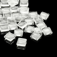 100/200pcs Clear Transparent Square Glass Cabochons Pendant Covers Findings