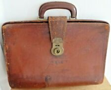 Vintage Brown Leather Gladstone Bag Doctors Style Briefcase Attache Case