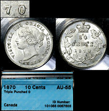 ELITE VARIETIES CANADA 10 cents - 1870 Triple Punched 0/0/0 - CCCS AU55 (a486)