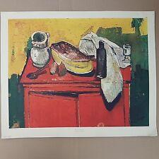 """Bernard Lorjou """"Buffet rouge"""" Lithographie.  """"Red buffet"""" Lithography braun&cie"""