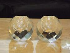 Pair of Round Prism Clear Glass Candle Holders