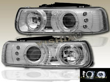 99-02 Chevy Silverado 00 01 02 03 04 Suburban Tahoe Headlights Two Halo LED